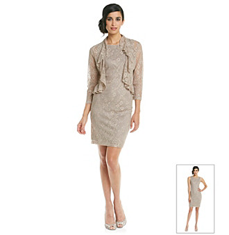 Jessica Howard Metallic Lace Jacket Dress.
