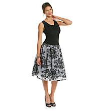 S.L. Fashions Petites's Embossed Lace Party Dress