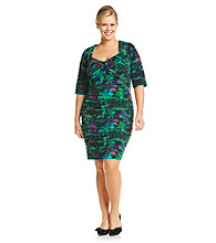 London Times Plus Size Print Shutter Dress