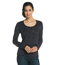 Jones New York Signature Petites' Scoop Neck Pullover With Beading