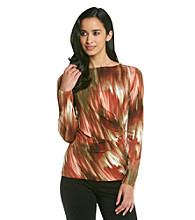 Jones New York Signature Petites' Long Sleeve Side Drape Top