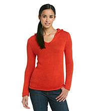 Jones New York Signature Petites' Long Sleeve Hooded V-Neck Pullover
