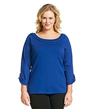 Rafaella Plus Size Roll Sleeve 1X1 Rib Looped Neck Detail Knit Top