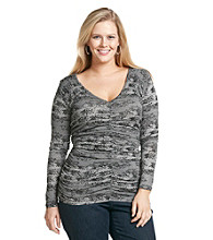 DKNY JEANS Plus Size Long Sleeve Lace Print Ruched V-Neck Top