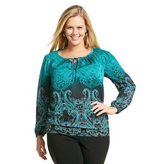 Jones New York Signature Plus Size Pleated Long Sleeve Blouse
