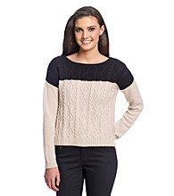 Olive & Oak Outfitters® Colorblocked Sweater with Cable Detail