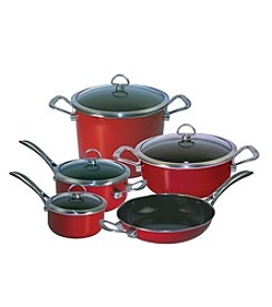 Chantal® 9-pc. Chili Red Enamel with Copper Fusion™ Cookware Set