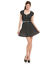 As U Wish Juniors' Black And White Dot Skater Dress