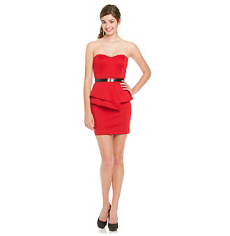 A. Byer Juniors' Red Strapless Peplum Dress