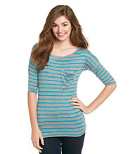 Pink Rose® Juniors' Stripe Relaxed Boyfriend Tee