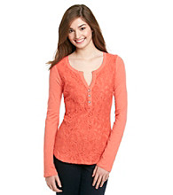Eyeshadow® Juniors' Lace Front Henley Top