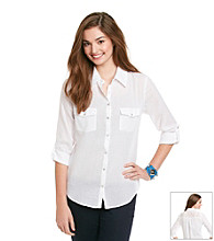 Eyeshadow® Juniors' Lace Back Equipment Shirt