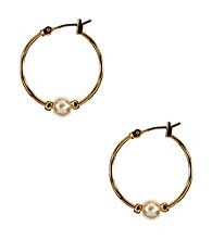 Napier® Goldtone and Pearl Beaded Hoop Earrings
