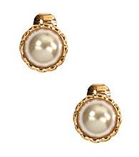 Napier® Silvertone and Pearl Button Clip Earrings