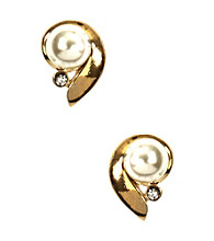Napier® Goldtone Pearl and Crystal Stud Earrings