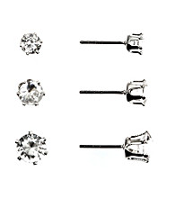 Napier® Silvertone and Crystal Stud Trio Earring Set