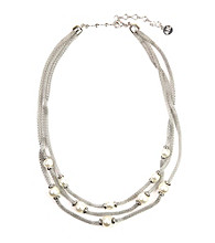 Anne Klein® Silvertone Three Row Necklace