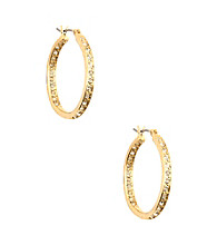 Anne Klein® Goldtone Crystal Hoop Earrings