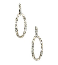 Anne Klein® Silvertone Crystal Drop Earrings