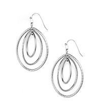 Anne Klein® Silvertone Oval Drop Earrings