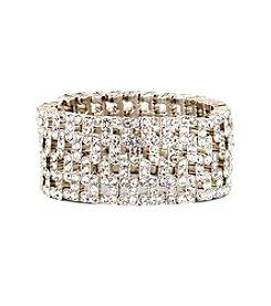 Anne Klein® Silvertone Crystal Stretch Bracelet
