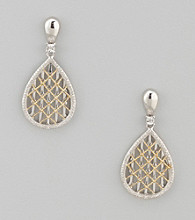 Sterling Silver and 14K Gold Filigree Earrings