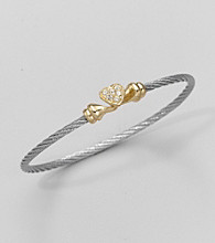 Cellini Gold/Grey Pave Heart Cable Hook Bracelet