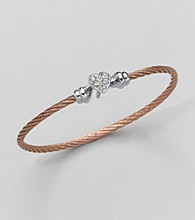 Cellini Silver/Rose Pave Heart Cable Hook Bracelet