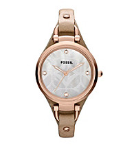 Fossil® Georgia Sand Leather Band with Mother of Pearl Face Ladies' Dress Watch