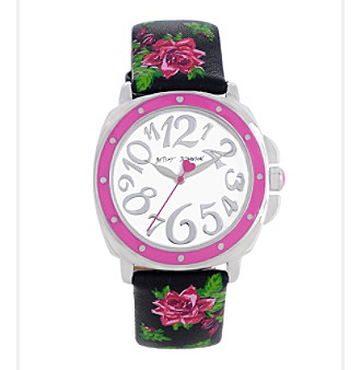 Betsey Johnson® Black Floral Printed Leather Strap Watch