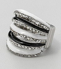 Erica Lyons® Silvertone/Crystal Stretch Ring