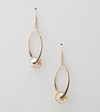 Erica Lyons® Clear Hoopla Drop Oval Front Hoop Pierced Earrings