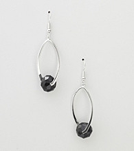 Erica Lyons® Jet Hoopla Drop Oval Front Hoop Pierced Earrings