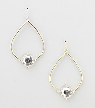 Erica Lyons® Clear Hoopla Teardrop Front Hoop Pierced Earrings