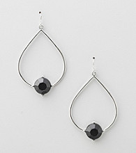Erica Lyons® Jet Hoopla Teardrop Front Hoop Pierced Earrings