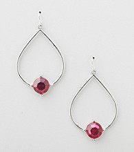 Erica Lyons® Fuschia Hoopla Teardrop Front Hoop Pierced Earrings