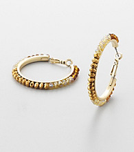 Erica Lyons® Brown Multi Hoopla Hoop Pierced Earrings