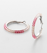 Erica Lyons® Fuschia Hoopla Hoop Pierced Earrings