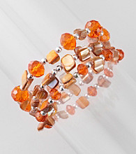 L&J Accessories Three Row Orange Shell and Glass Stretch Bracelet