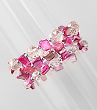 L&J Accessories Three Row Pink Shell and Glass Stretch Bracelet