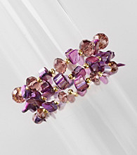 L&J Accessories Three Row Purple Shell and Glass Stretch Bracelet