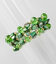 L&J Accessories Three Row Green Shell and Glass Stretch Bracelet