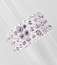 L&J Accessories Silvertone and Purple Wide Stretch Bracelet