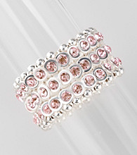 L&J Accessories Silvertone and Pink Wide Stretch Bracelet