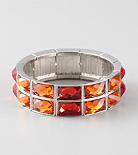 L&J Accessories Orange and Red Faceted Glass Stretch Bracelet