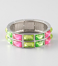 L&J Accessories Green and Pink Faceted Glass Stretch Bracelet