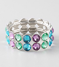 L&J Accessories Blue, Green and Purple Glass Stretch Bracelet