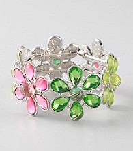 L&J Accessories Green and Pink Flower Glass Stretch Bracelet