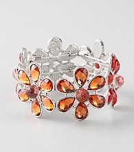 L&J Accessories Orange and Red Flower Glass Stretch Bracelet