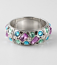 L&J Accessories Purple, Blue and Green Glass Strech Bracelet